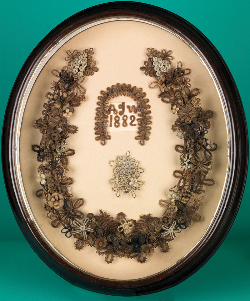 Fig 4 Hair Work Wreath By Amy Ida Williams South Central Pennsylvania 1882 1883 Gimp On Paper In What Is Probably The Original Wood Frame