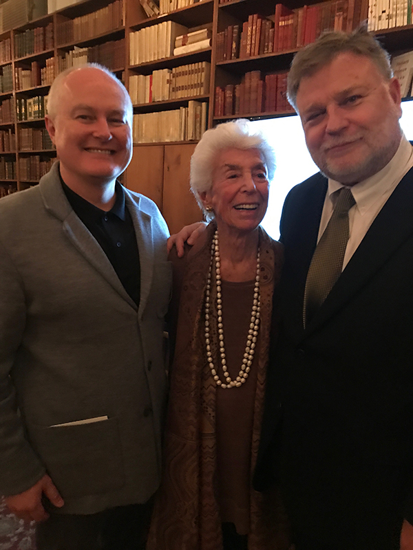 Joan Davidson (center) at the Strand Bookstore in New York City with the 2019 Alice Award recipients, Mark Sloan (right) and Mark Long (left).